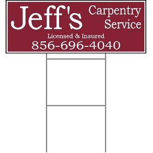 "9""x24"" 4mm Corrugated Plastic Outdoor Lawn Sign (1 Color)"